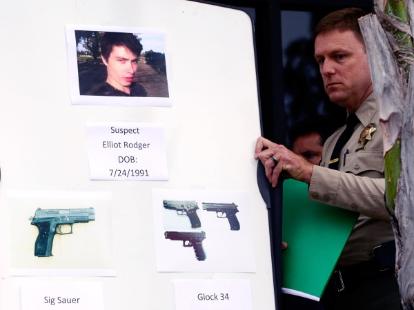 Image: An image of Elliot Rodger and models of the weapons he used in a shooting rampage