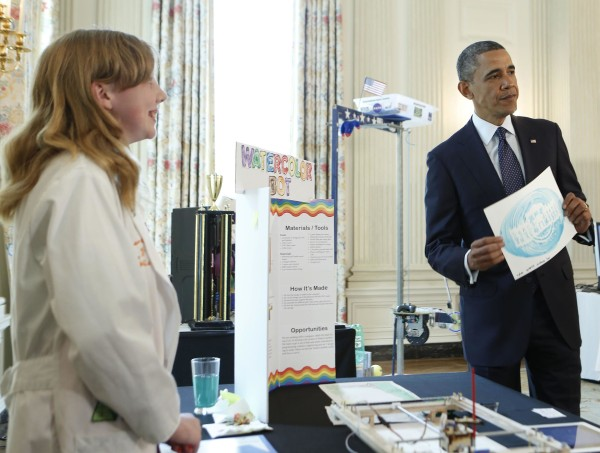 U.S. President Obama holds a design at a White House Science Fair at the White House in Washington