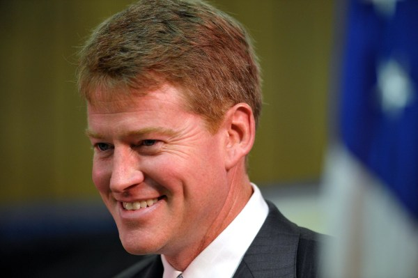 Image: Sen. Chris Koster, D-Harrisonville, speaks during an election watch party, on Aug. 5, 2008 in Kansas City, Mo.