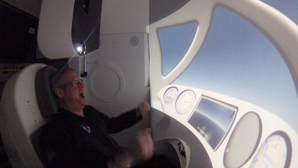 Image: Ian Bailey reacts as the NASTAR centrifuge accelerates to simulate the rocket ride aboard Virgin Galactic's SpaceShipTwo rocket plane.