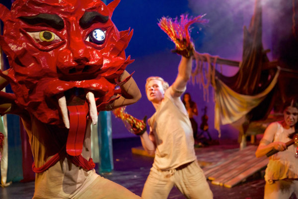 """Image: A scene from the theater production """"The Magic Rainforest: An Amazon Journey"""" at the Cara Mia Theater Co. in Dallas, Texas, May 2014."""