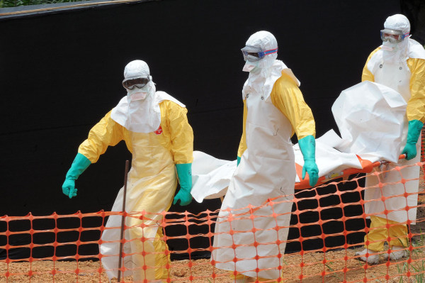 Image: Doctors Without Borders staff carry the body of a person killed by viral haemorrhagic fever, at a center for victims of the Ebola virus