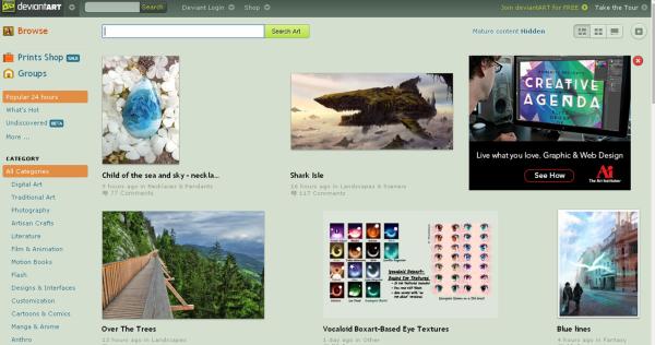 Image; deviantART homepage