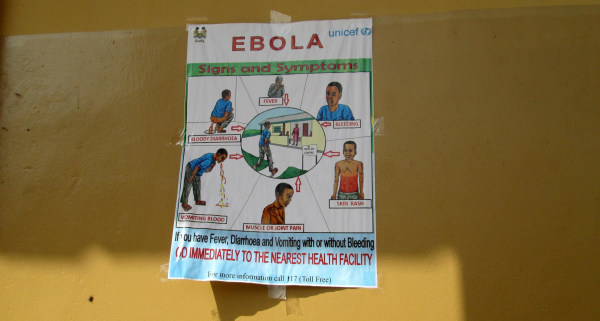 A poster used to educate health care workers in Sierra Leone about symptoms of Ebola virus.