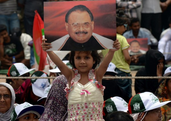 Image: A young girl from Pakistan's Muttahida Qaumi Movement (MQM) party