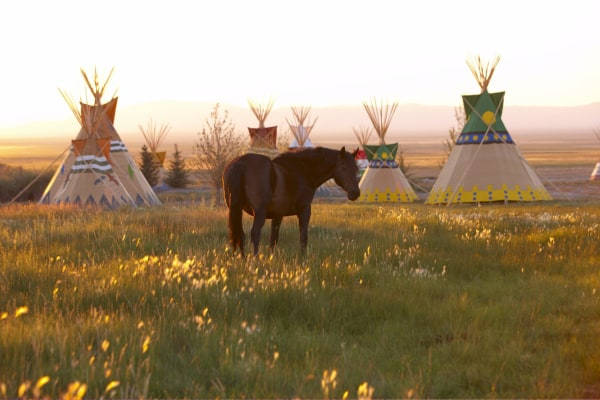 Image: Guests at Mustang Monument can stay in tipis or cottages.