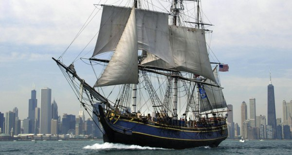"Image: The ""HMS Bounty"" sails past the Chicago in 2003"