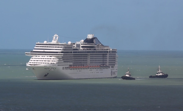 Image: Ship MSC Divina arrives at Recife, Pernambuco, northeastern Brazil, on June 17, 2014.