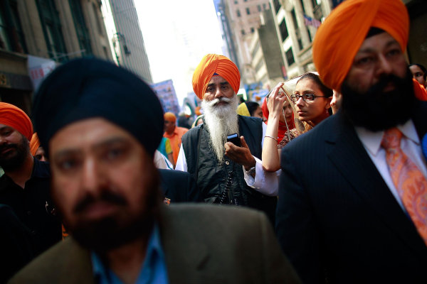 Image: Sikhs prepare to march in the annual NYC Sikh Day Parade April 25, 2009 in New York City.