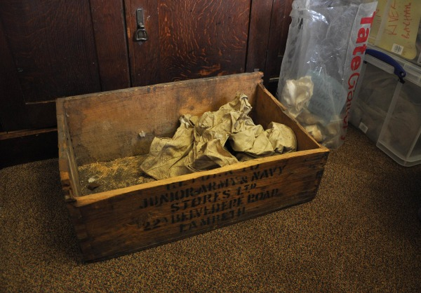 Image: The box in which materials from Sir Leonard Woolley's archaeological dig of the Sumerian city of Ur were found, in Bristol, England