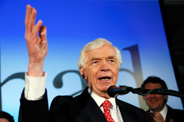 Image: U.S. Sen. Thad Cochran, R-Miss., addresses supporters and volunteers at his runoff election victory party Tuesday,