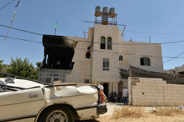 Image: Exterior of the house of Amer Abu Eisheh,one of the suspects in killing the teenage settlers, after it was blown up by Israeli soldiers, in Hebron.