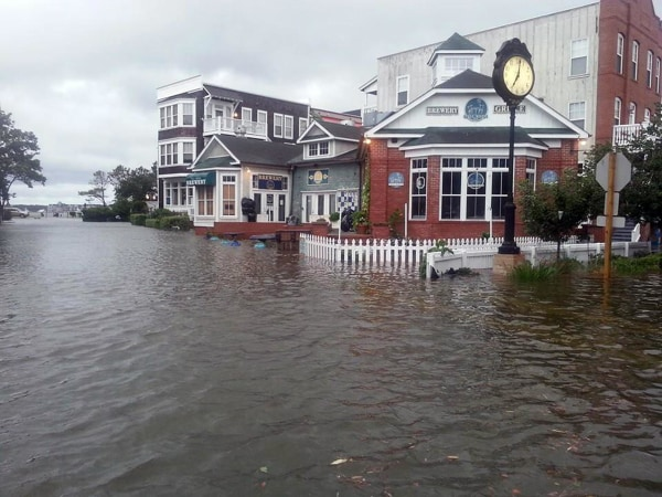 Flooding in downtown Manteo, North Carolina, after Hurricane Arthur made landfall on July 4, 2014.