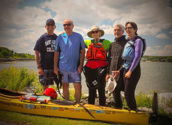 Image: Deborah Walters poses with fellow kayakers