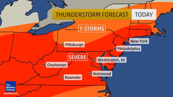 Image: Numerous severe thunderstorms are expected from New England into the Southeast