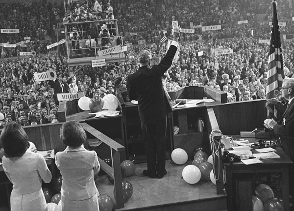 Image: Image: Barry Goldwater waves to delegates at the Republican National Convention in San Francisco, July 16, 1964.