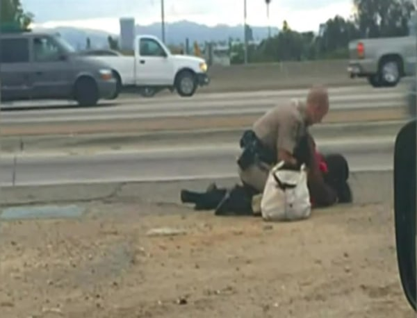 Image: Marlene Pinnock, 51, was punched 10-15 times by a California Highway Patrol Officer on July 1.