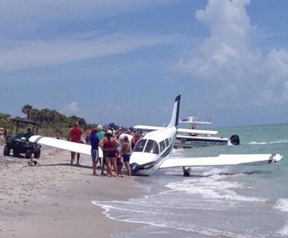 Image: A plane crash-landed on Caspersen Beach in Venice, Fla., on Sunday.