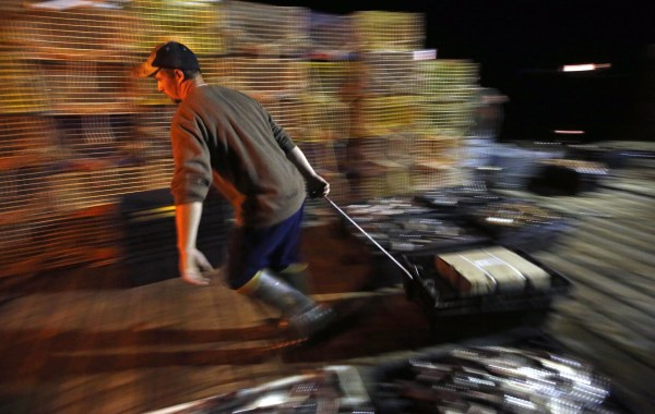 Image: Brandon Demmons hauls bait across a wharf at the start of his day as a sternman