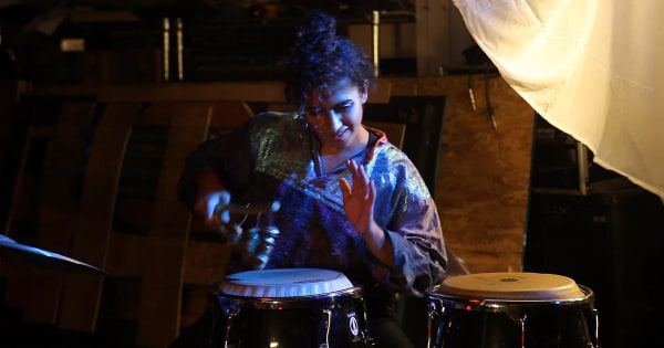 Image: Kiran Gandhi performs with guitarist Teddy Svoronos at the Heartbeat Collective in Jamaica Plain.