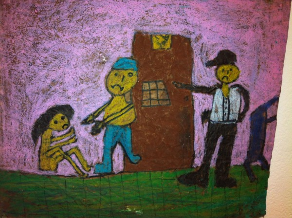 A child's drawing, made in a workshop for street children, appears to depict a scene in a police station.