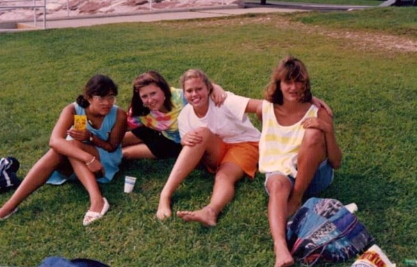 Image: Migdalia Diaz with some childhood friends, on the beach in Old Saybrook, Connecticut