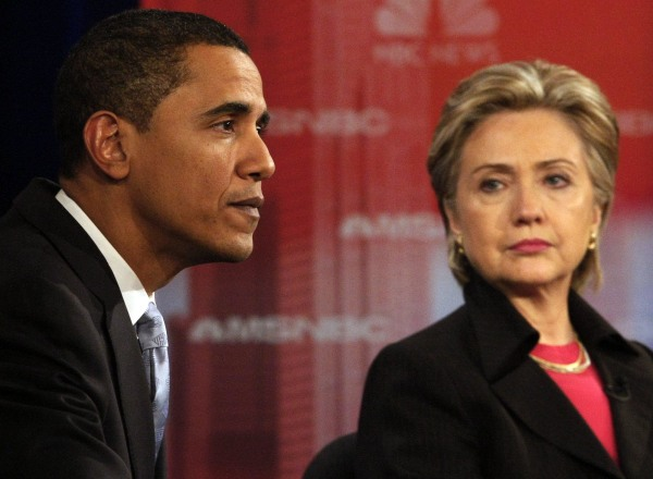 Image: Democratic presidential candidates US Senator Barack Obama and Hillary Clinton take part in their debate in Las Vegas