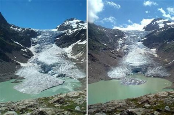 Image: Switzerland's Trift glacier retreated by more than 600 feet between 2004, left, and 2005
