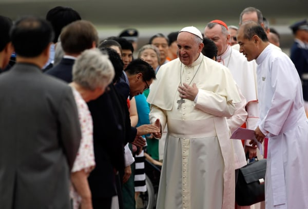 Image: Pope Francis arrives in South Korea on Thursday