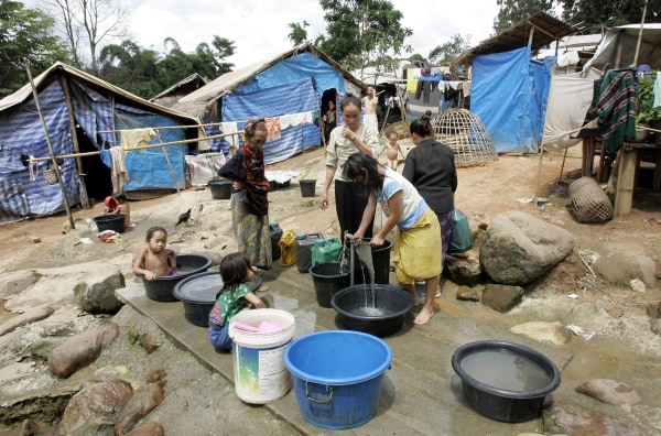 Image: Hmong refugees in Thai refugee camp