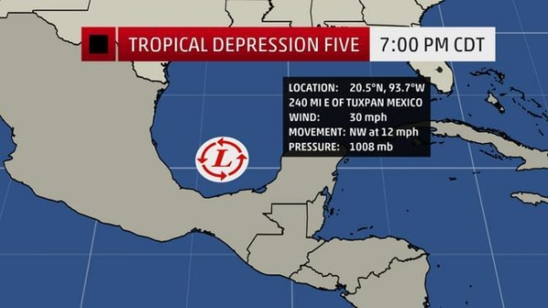 IMAGE: Map of Tropical Depression Five.