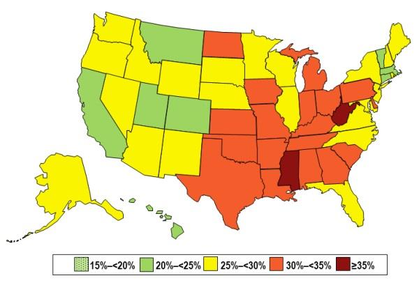 Image: Chart showing prevalence of Self-Reported Obesity Among U.S. Adults by State, BRFSS, 2013