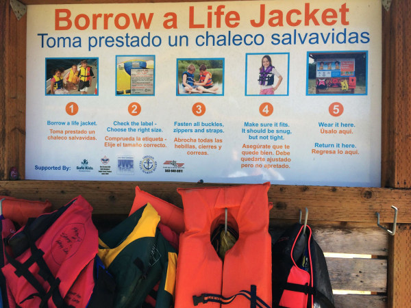 Image: A sign posted at Henry Hagg Lake in Gaston, Ore., offering visitors the option of borrowing a life jacket.
