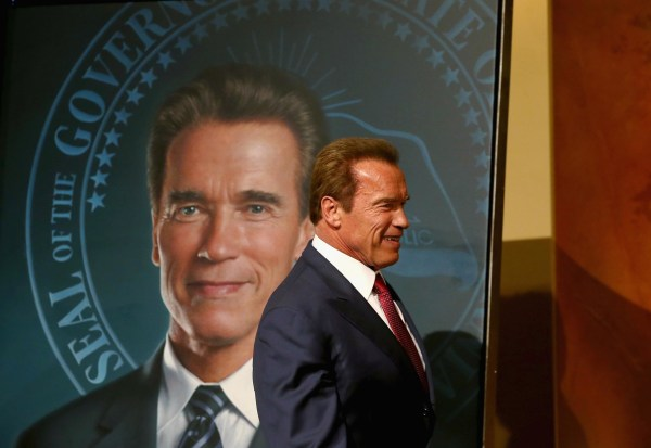 Image: Gov. Brown Unveils Offical Gubernatorial Portrait Of Former Governor Schwarzenegger