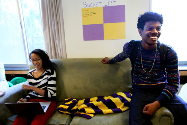 Image:  Christine Tamir and David Weathers, a 17-year-old freshman at Williams College in Williamstown, MA, chat in their dorm .