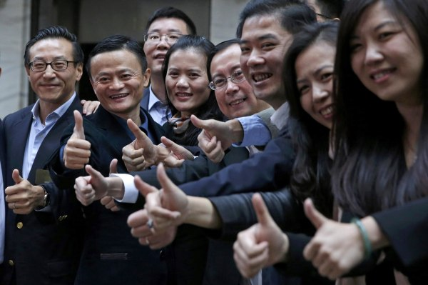 Image: Alibaba Group Holding Ltd founder Jack Ma poses as he arrives at the New York Stock Exchange for his company's initial public offering in New York