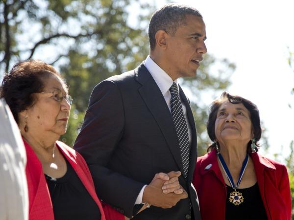 Image: Barack Obama, Helen F. Chavez, Dolores Huerta