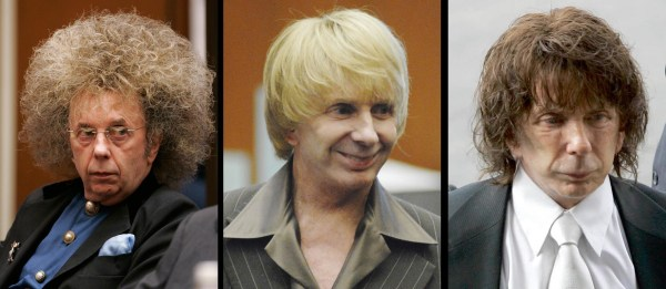 Image: Phil Spector is shown with different hair styles during his murder trial in Los Angeles