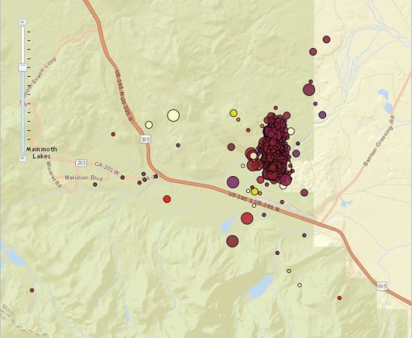 Image: Map shows cluster of quakes east of the ski town of Mammoth Lakes, Calif.