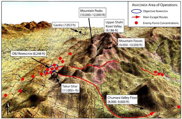 Image: Map of the area of Operation Anaconda showing the Shahikot Valley and the peak Takur Ghar