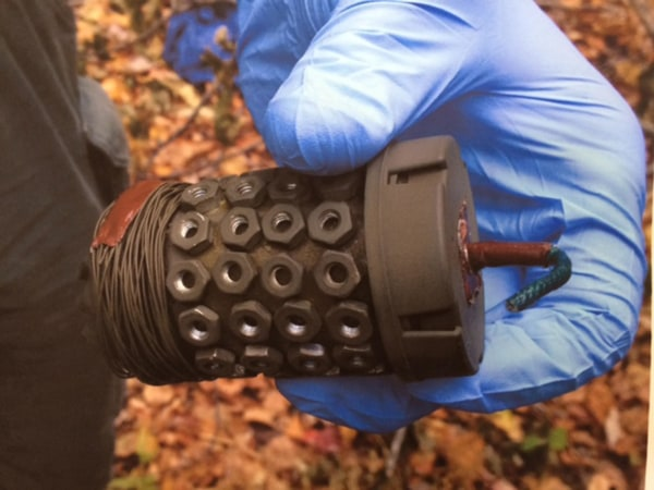 Image: A pipe bomb that police found in accused cop-killer Eric Frein's bunker in the Pennsylvania woods.