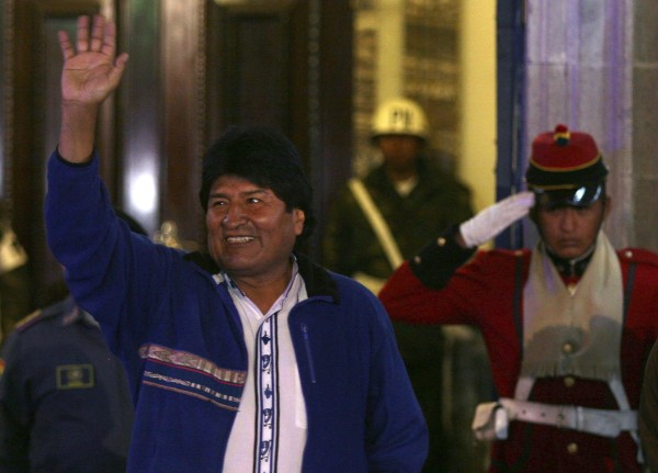 Image: Bolivia's President Evo Morales waves to supporters at the entrance of the presidential palace in La Paz