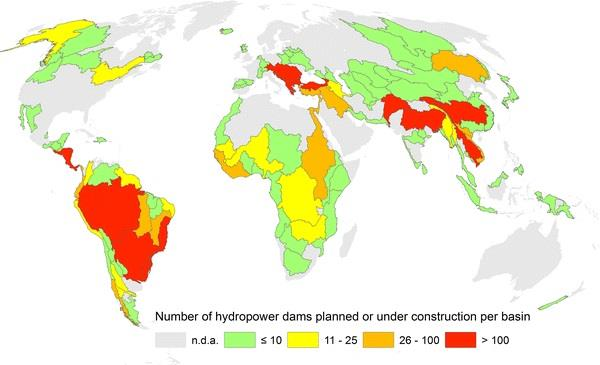 Image: Number of future hydropower dams per major river basin