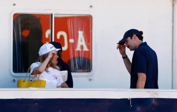 Image: Regina Catrambone bids farewell to her husband Christopher on board the Phoenix