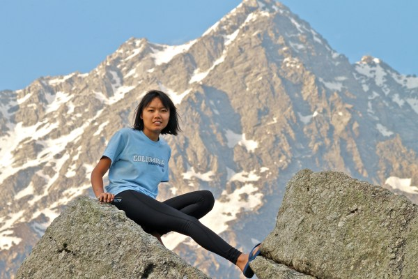 Tsechu Dolma in the Dhauladar Range of the Himalayas during her first trip back to India and Nepal in 20