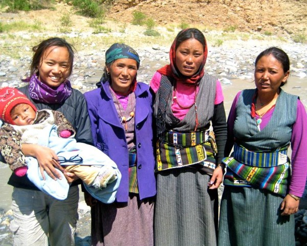 Tsechu Dolma (far left) with Upper Mustang women making the journey to Lo Manthang, Nepal, while discussing the high rates of malnutrition for children, and maternal and neonatal mortality.