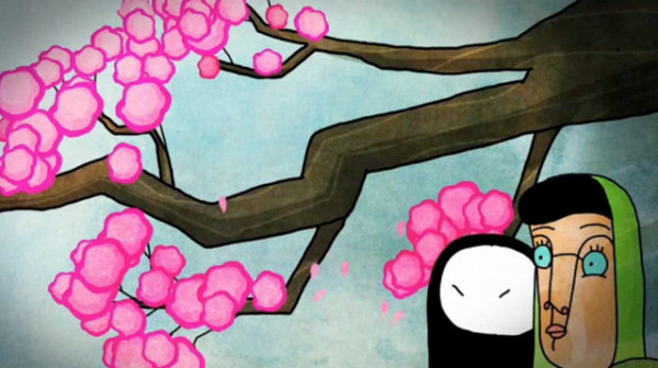 "Screenshot from ""Window Horses,"" an animated film about a young Chinese-Iranian-Canadian poet."