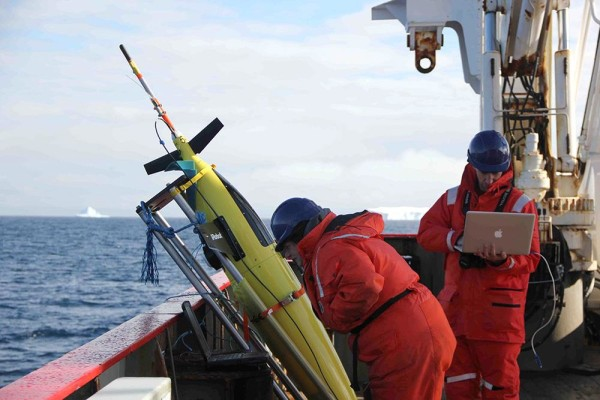 Image: A robotic glider is prepared for release into the Weddell Sea off Antarctica