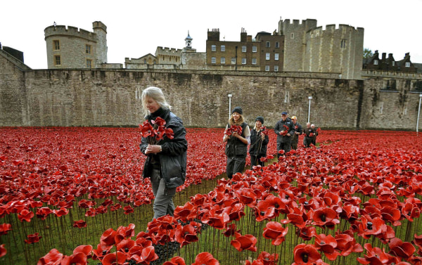 "Image: A group of volunteers remove ceramic poppies as work begins to dismantle the art installation ""Blood Swept Lands and Seas of Red""  at the Tower of London"