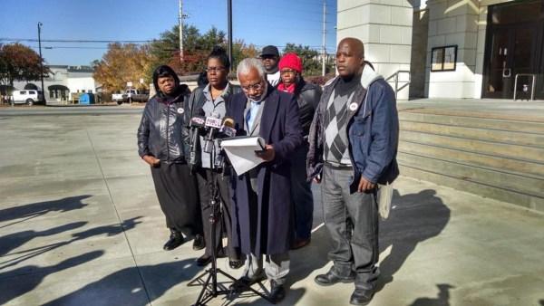 Image: The family of Kendrick Johnson in Valdosta, Georgia, on Tuesday.